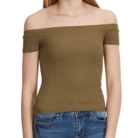 Olive Green Off the Shoulder Fitted Top!